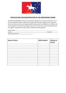 thumbnail of APPLICATION FOR REGISTRATION OF AN ENDURANCE HORSE
